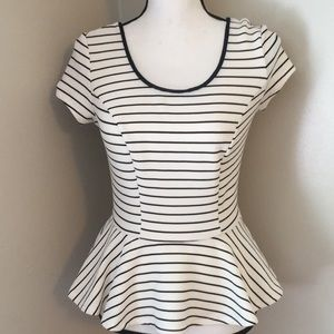 Black and Striped Fitted Top From Xhileration